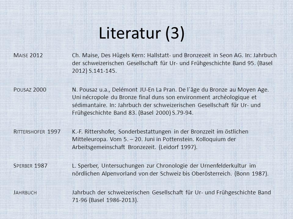 Literatur (3) M AISE 2012Ch. Maise, Des Hügels Kern: Hallstatt- und Bronzezeit in Seon AG. In: Jahrbuch der schweizerischen Gesellschaft für Ur- und F