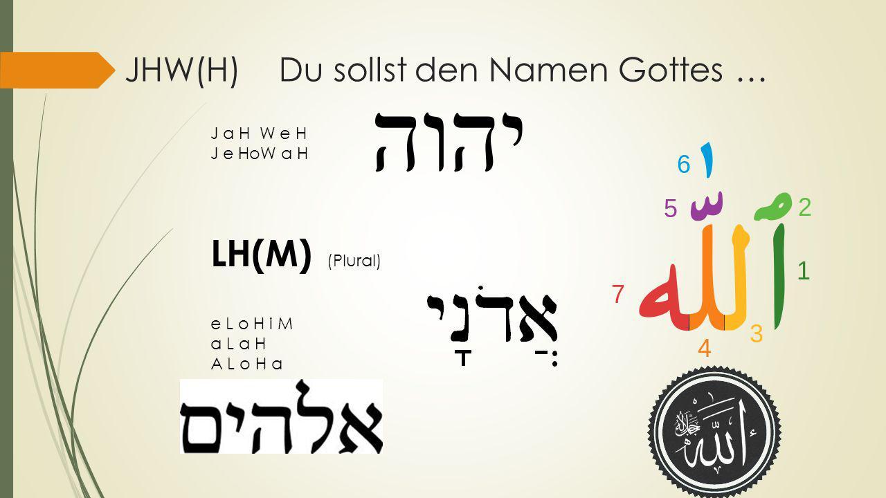 JHW(H) Du sollst den Namen Gottes … J a H W e H J e HoW a H LH(M) (Plural) e L o H i M a L a H A L o H a