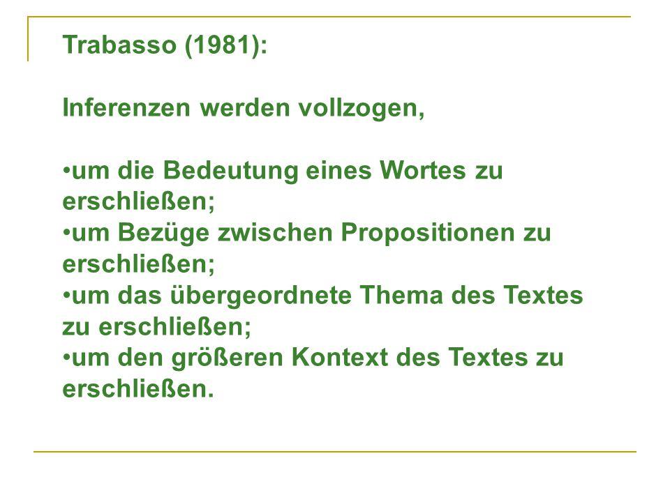 Trabasso (1981): Inferenzen werden vollzogen, um die Bedeutung eines Wortes zu erschließen; um Bezüge zwischen Propositionen zu erschließen; um das übergeordnete Thema des Textes zu erschließen; um den größeren Kontext des Textes zu erschließen.