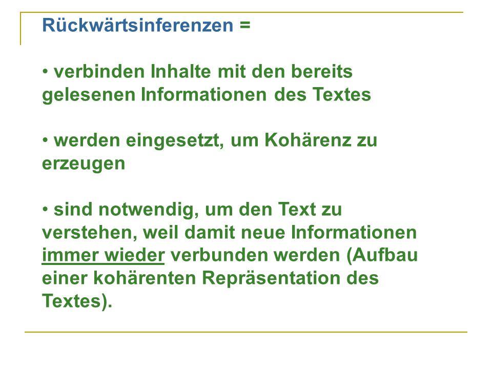 Rückwärtsinferenzen = verbinden Inhalte mit den bereits gelesenen Informationen des Textes werden eingesetzt, um Kohärenz zu erzeugen sind notwendig, um den Text zu verstehen, weil damit neue Informationen immer wieder verbunden werden (Aufbau einer kohärenten Repräsentation des Textes).