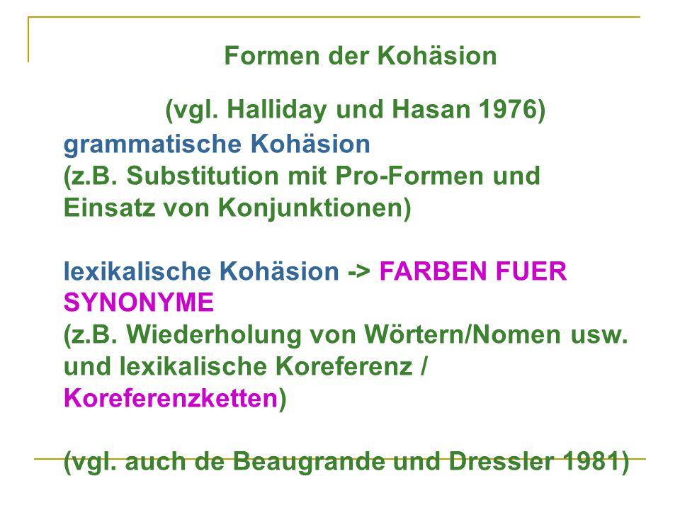 grammatische Kohäsion (z.B.