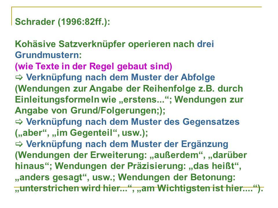 Schrader (1996:82ff.): Kohäsive Satzverknüpfer operieren nach drei Grundmustern: (wie Texte in der Regel gebaut sind)  Verknüpfung nach dem Muster der Abfolge (Wendungen zur Angabe der Reihenfolge z.B.