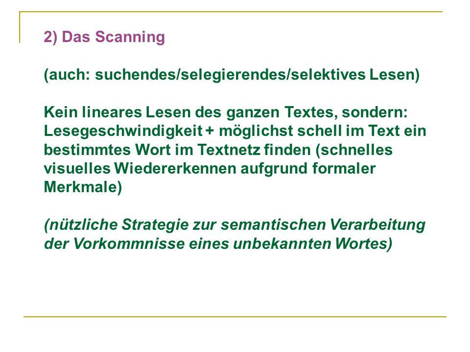 2) Das Scanning (auch: suchendes/selegierendes/selektives Lesen) Kein lineares Lesen des ganzen Textes, sondern: Lesegeschwindigkeit + möglichst schell im Text ein bestimmtes Wort im Textnetz finden (schnelles visuelles Wiedererkennen aufgrund formaler Merkmale) (nützliche Strategie zur semantischen Verarbeitung der Vorkommnisse eines unbekannten Wortes)