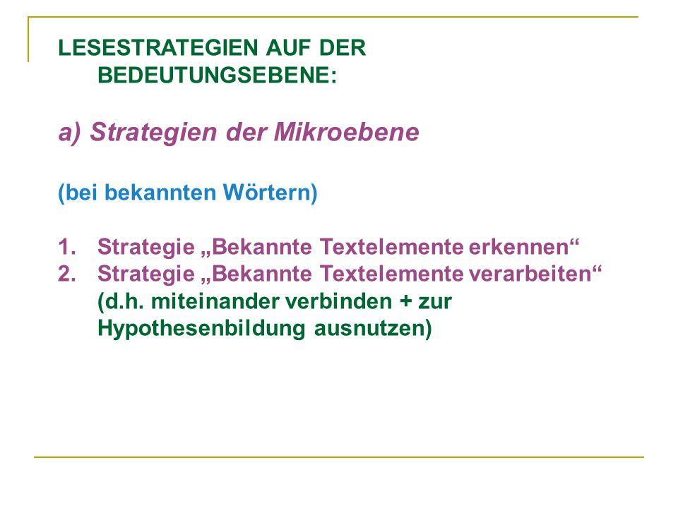 """LESESTRATEGIEN AUF DER BEDEUTUNGSEBENE: a) Strategien der Mikroebene (bei bekannten Wörtern) 1.Strategie """"Bekannte Textelemente erkennen 2.Strategie """"Bekannte Textelemente verarbeiten (d.h."""