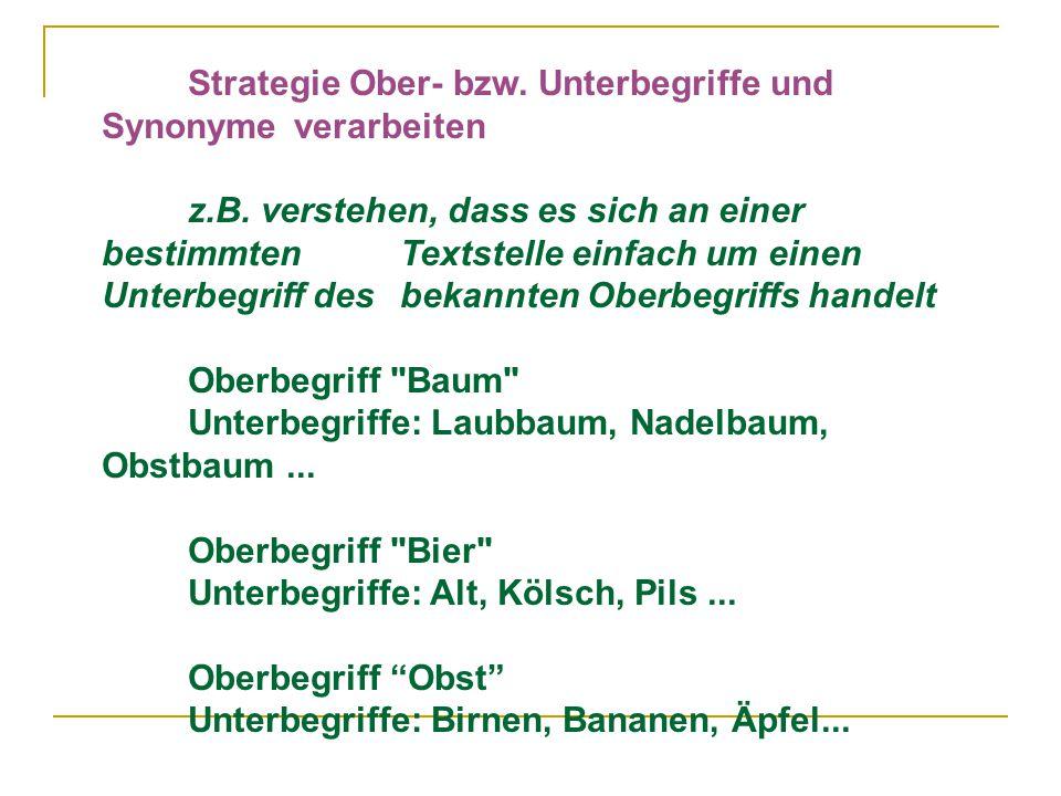 Strategie Ober- bzw.Unterbegriffe und Synonyme verarbeiten z.B.