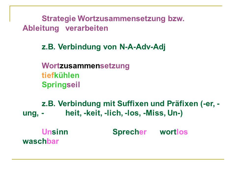 Strategie Wortzusammensetzung bzw.Ableitung verarbeiten z.B.
