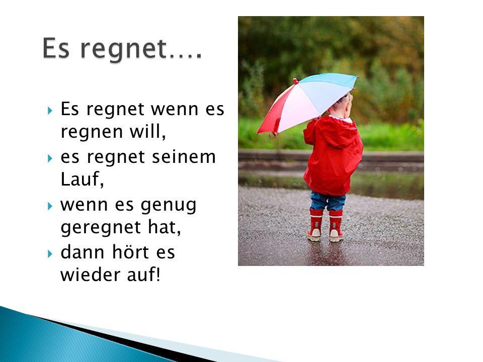  Es regnet wenn es regnen will,  es regnet seinem Lauf,  wenn es genug geregnet hat,  dann hört es wieder auf!