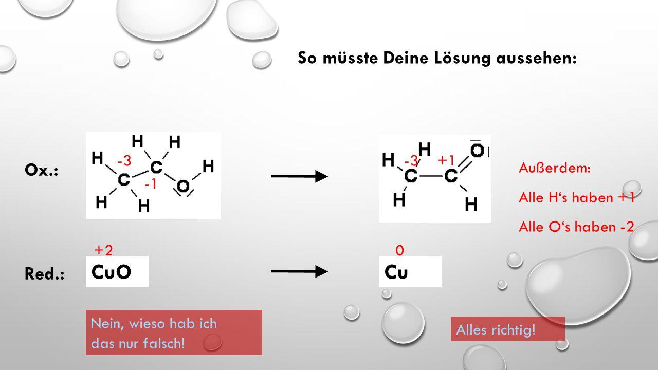 Die Oxidation ist die Reaktion, bei der die Oxidationszahl sich erhöht (positiver oder weniger negativ wird). Die Reduktion ist die Reaktion, bei der
