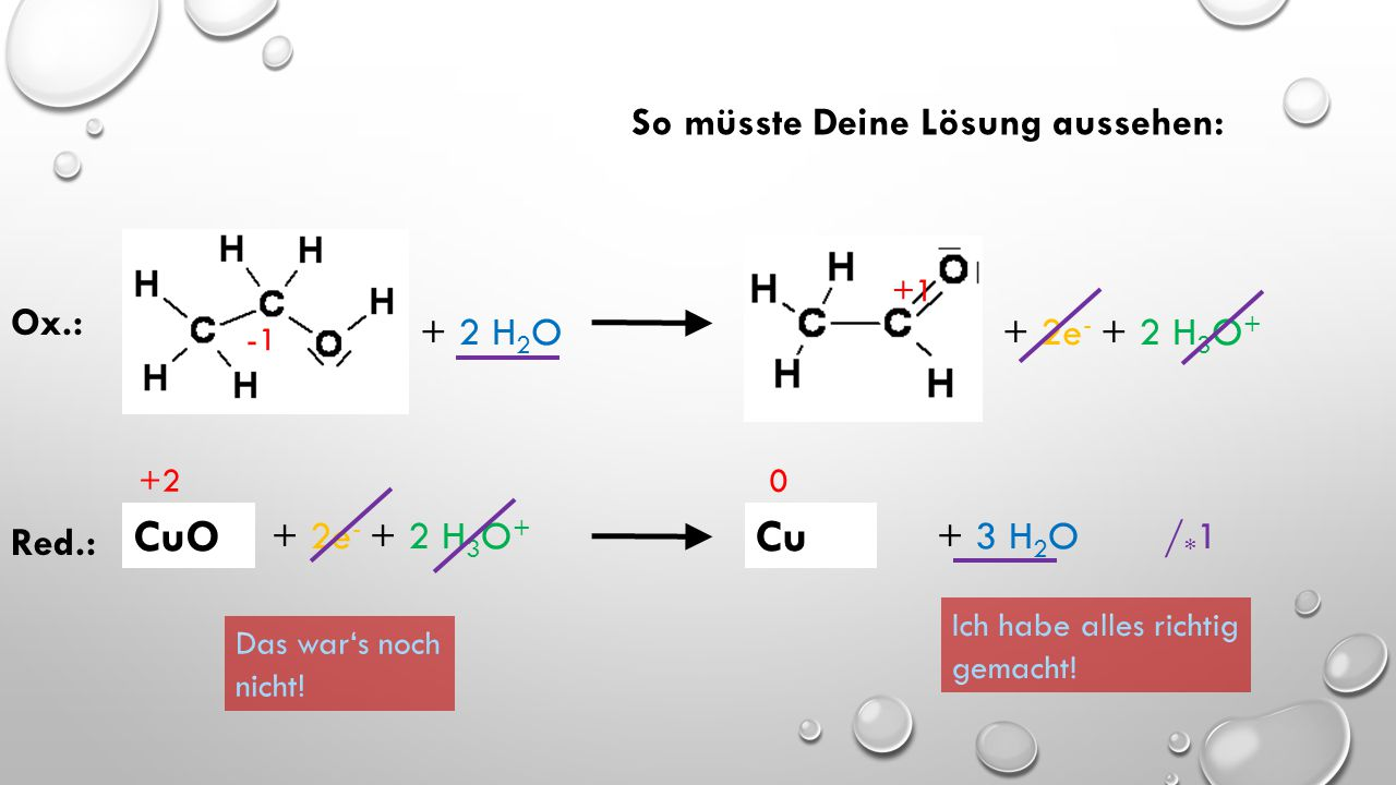 0 +4 Ox.: Mn + 6 H 2 O  MnO 2 + 4e - + 4 H 3 O + / * 1 +2 0 Red.: 2 FeCl 2 + 4e -  2 Fe + 4 Cl - / * 2