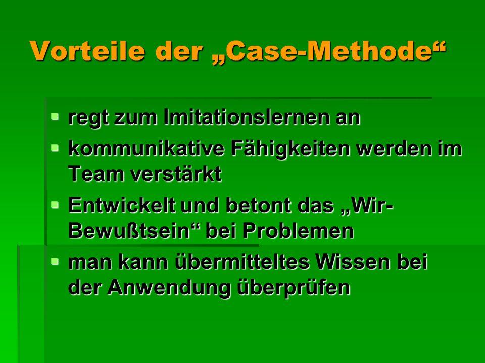 """Vorteile der """"Case-Methode  regt zum Imitationslernen an  kommunikative Fähigkeiten werden im Team verstärkt  Entwickelt und betont das """"Wir- Bewußtsein bei Problemen  man kann übermitteltes Wissen bei der Anwendung überprüfen"""