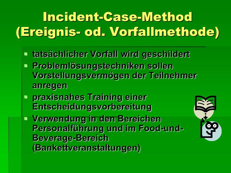 Case-Problem-Method (Problemfindungsfall)  enthalten alle Fakten dir zur Lösung benötigt werden  kurze vereinfachte Falldarstellung – Problemanalyse