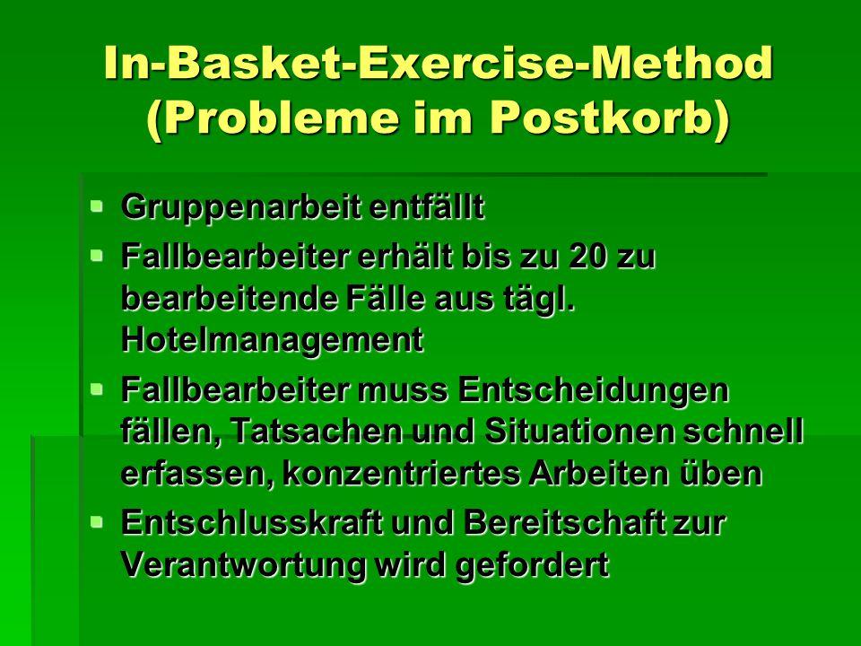 In-Basket-Exercise-Method (Probleme im Postkorb)  Gruppenarbeit entfällt  Fallbearbeiter erhält bis zu 20 zu bearbeitende Fälle aus tägl.