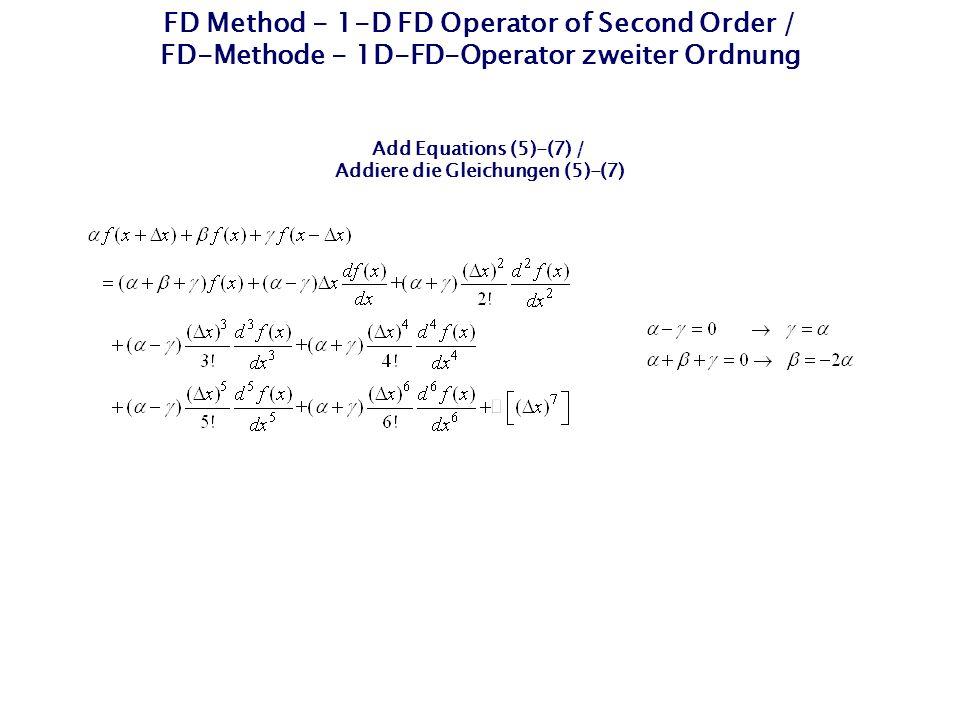 FD Method - 1-D FD Operator of Second Order / FD-Methode - 1D-FD-Operator zweiter Ordnung Add Equations (5)-(7) / Addiere die Gleichungen (5)-(7)