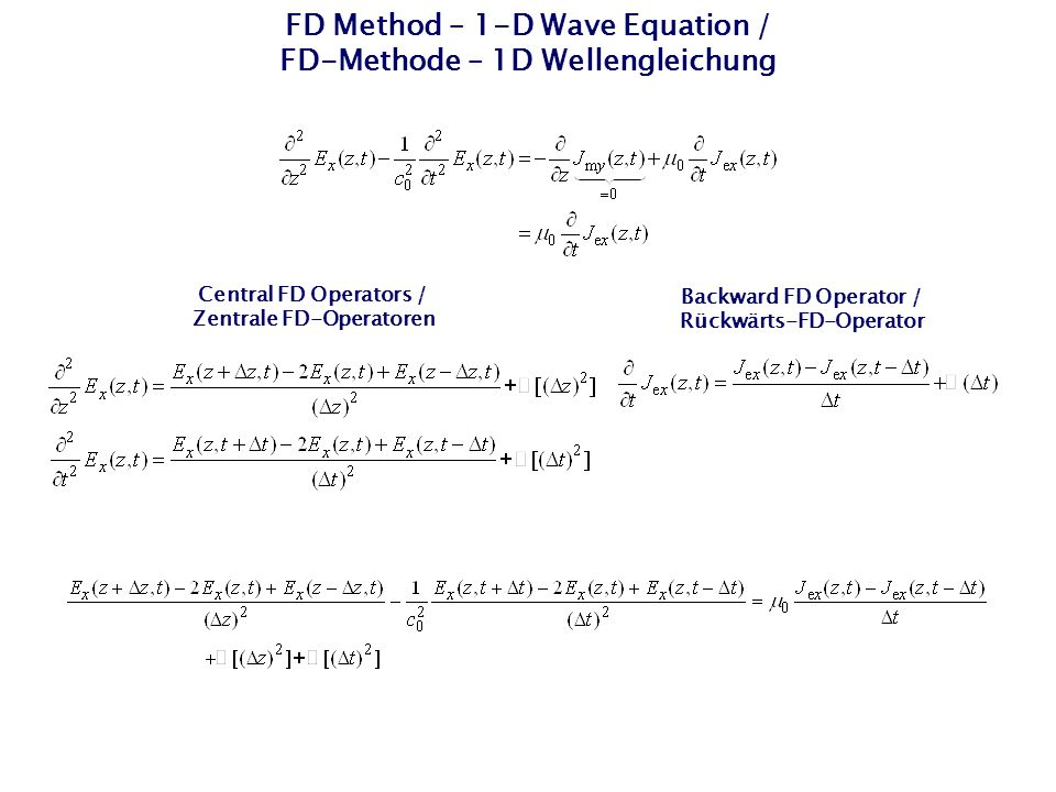 "FD Method – 1D Wave Equation / FD-Methode – 1D Wellengleichung Explicit FD algorithm in the time domain of 2nd order in space and time / Expliziter FD-Algorithmus im Zeitbereich 2ter Ordnung in Raum und Zeit Marching-on-in-time algorithm / ""Marschieren in der Zeit -Algorithmus"