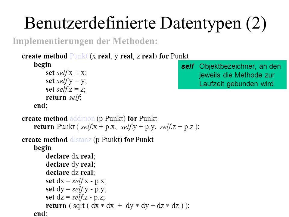 Benutzerdefinierte Datentypen (2) Implementierungen der Methoden: create method Punkt (x real, y real, z real) for Punkt begin set self.x = x; set sel