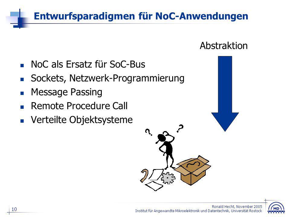 10 Ronald Hecht, November 2005 Institut für Angewandte Mikroelektronik und Datentechnik, Universität Rostock Entwurfsparadigmen für NoC-Anwendungen No