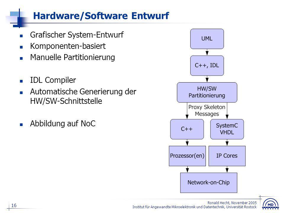 16 Ronald Hecht, November 2005 Institut für Angewandte Mikroelektronik und Datentechnik, Universität Rostock Hardware/Software Entwurf Grafischer Syst