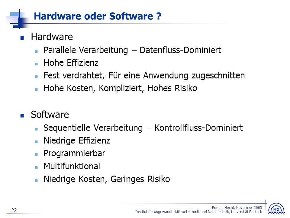 22 Ronald Hecht, November 2005 Institut für Angewandte Mikroelektronik und Datentechnik, Universität Rostock Hardware oder Software ? Hardware Paralle