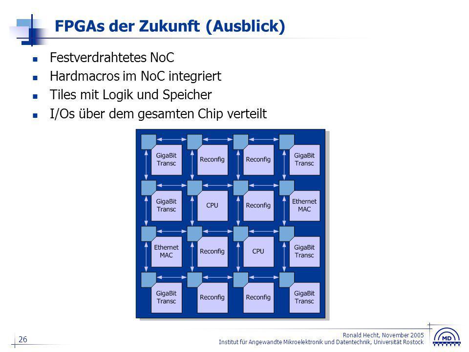 26 Ronald Hecht, November 2005 Institut für Angewandte Mikroelektronik und Datentechnik, Universität Rostock FPGAs der Zukunft (Ausblick) Festverdraht