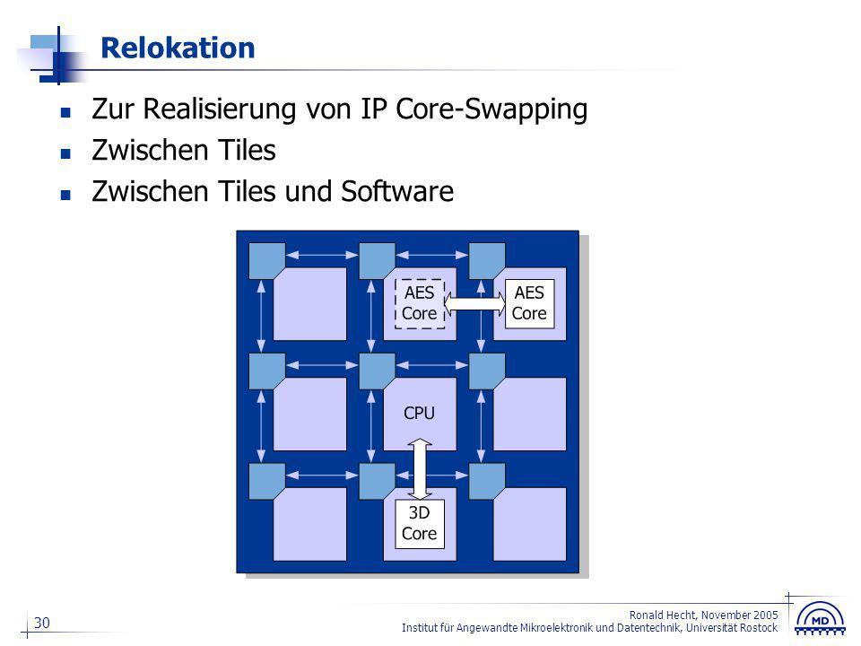 30 Ronald Hecht, November 2005 Institut für Angewandte Mikroelektronik und Datentechnik, Universität Rostock Relokation Zur Realisierung von IP Core-S