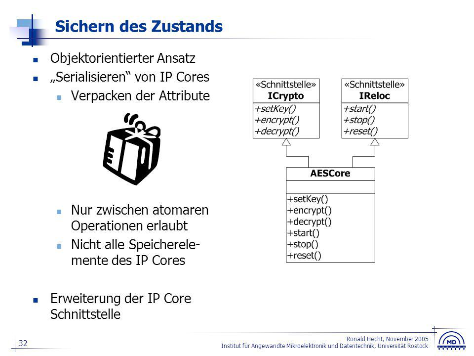 32 Ronald Hecht, November 2005 Institut für Angewandte Mikroelektronik und Datentechnik, Universität Rostock Sichern des Zustands Objektorientierter A