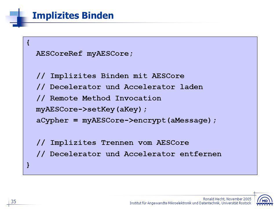 35 Ronald Hecht, November 2005 Institut für Angewandte Mikroelektronik und Datentechnik, Universität Rostock Implizites Binden { AESCoreRef myAESCore;