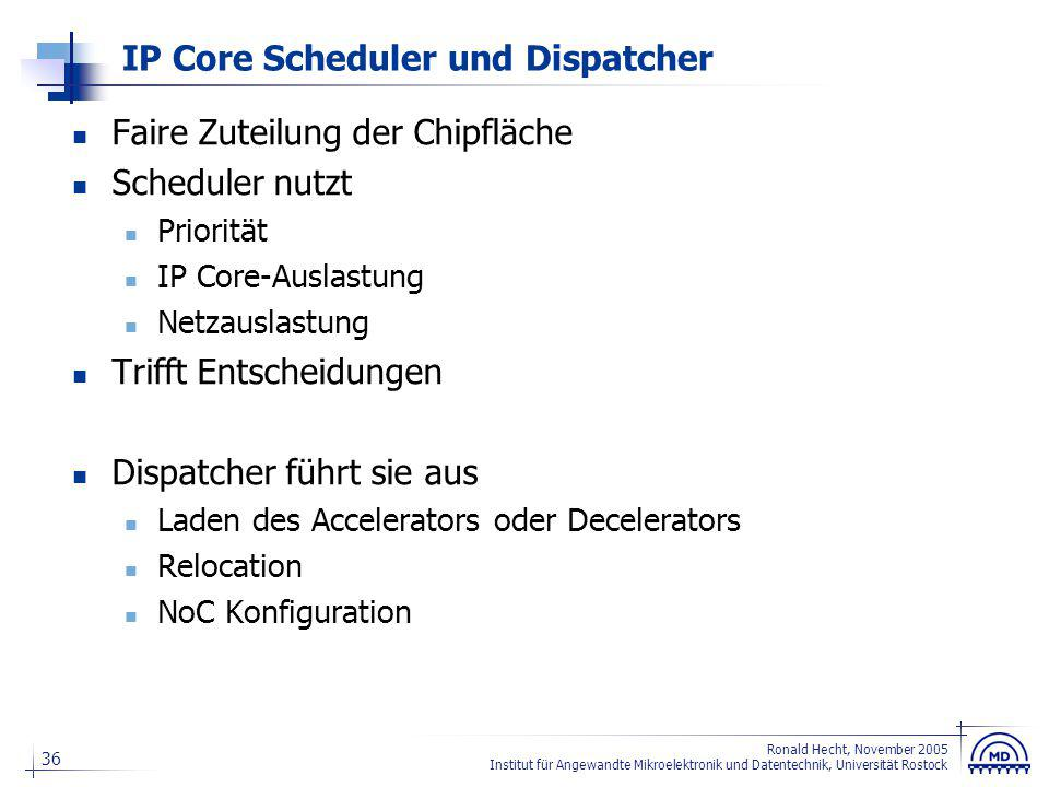 36 Ronald Hecht, November 2005 Institut für Angewandte Mikroelektronik und Datentechnik, Universität Rostock IP Core Scheduler und Dispatcher Faire Zu