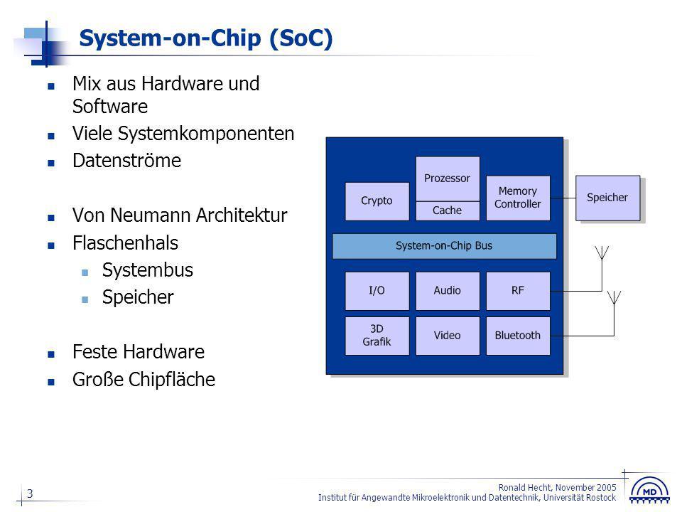 3 Ronald Hecht, November 2005 Institut für Angewandte Mikroelektronik und Datentechnik, Universität Rostock System-on-Chip (SoC) Mix aus Hardware und