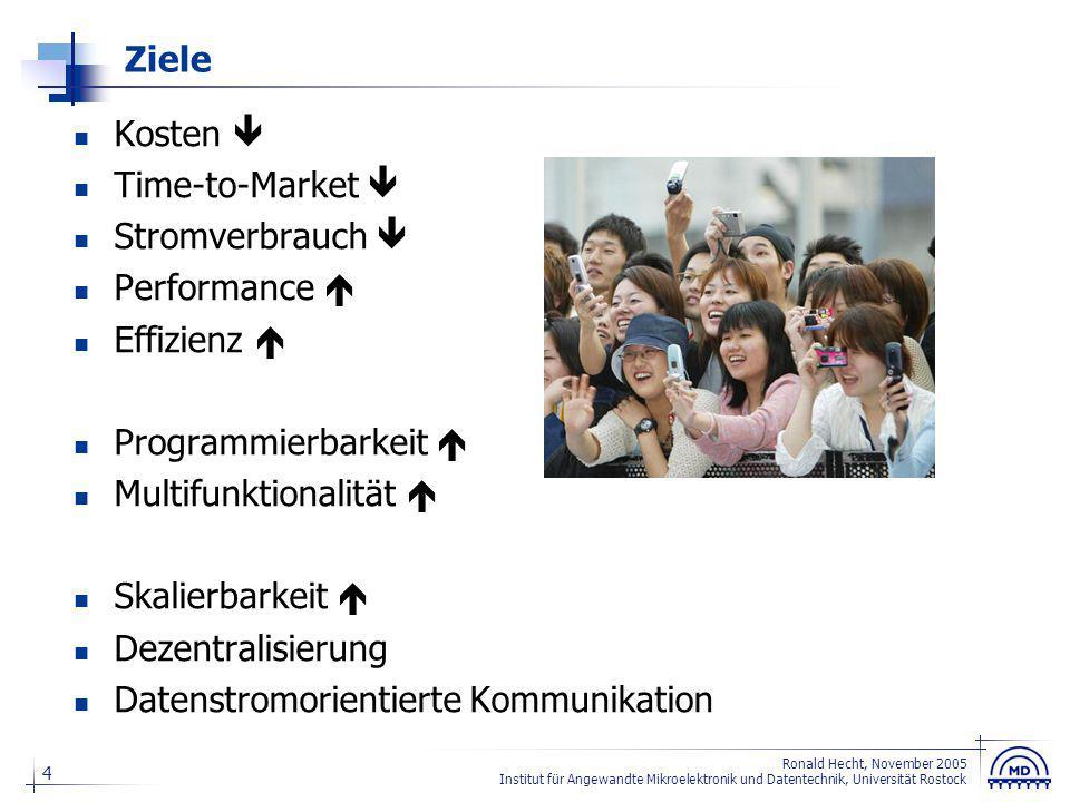4 Ronald Hecht, November 2005 Institut für Angewandte Mikroelektronik und Datentechnik, Universität Rostock Ziele Kosten  Time-to-Market  Stromverbr