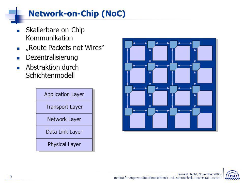 26 Ronald Hecht, November 2005 Institut für Angewandte Mikroelektronik und Datentechnik, Universität Rostock FPGAs der Zukunft (Ausblick) Festverdrahtetes NoC Hardmacros im NoC integriert Tiles mit Logik und Speicher I/Os über dem gesamten Chip verteilt