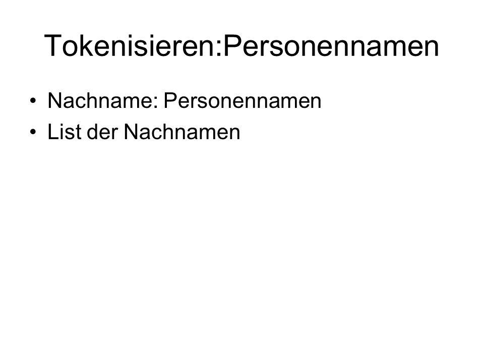 Tokenisieren:Personennamen Nachname: Personennamen List der Nachnamen