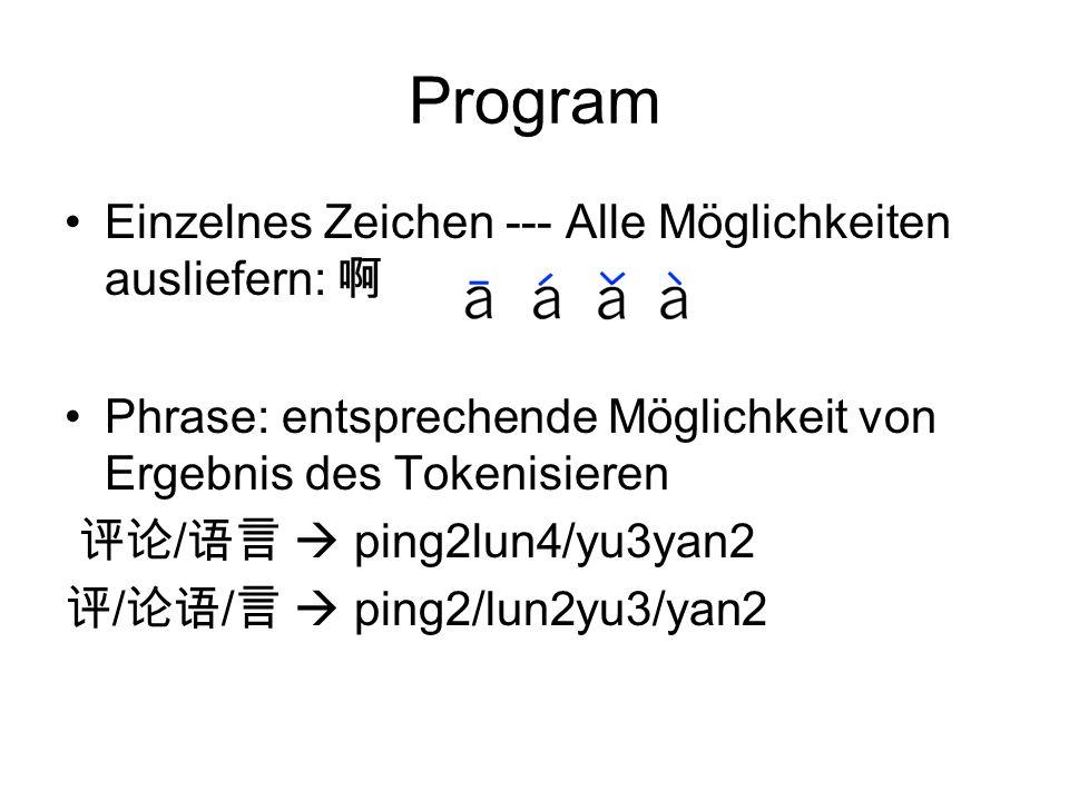 Program Einzelnes Zeichen --- Alle Möglichkeiten ausliefern: 啊 Phrase: entsprechende Möglichkeit von Ergebnis des Tokenisieren 评论 / 语言  ping2lun4/yu3