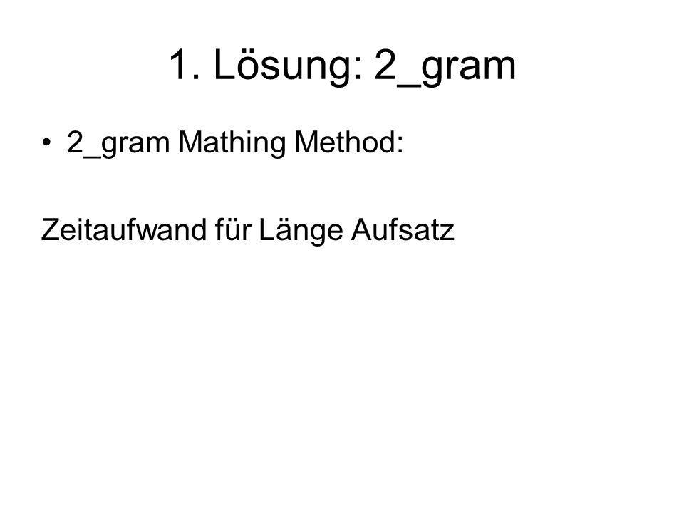 1. Lösung: 2_gram 2_gram Mathing Method: Zeitaufwand für Länge Aufsatz