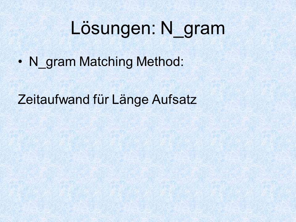 Lösungen: N_gram N_gram Matching Method: Zeitaufwand für Länge Aufsatz