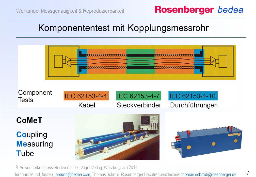 bedea Bernhard Mund, bedea, bmund@bedea.com, Thomas Schmid, Rosenberger Hochfrequenztechnik, thomas.schmid@rosenberger.de 17 Workshop: Messgenauigkeit & Reproduzierbarkeit 8.