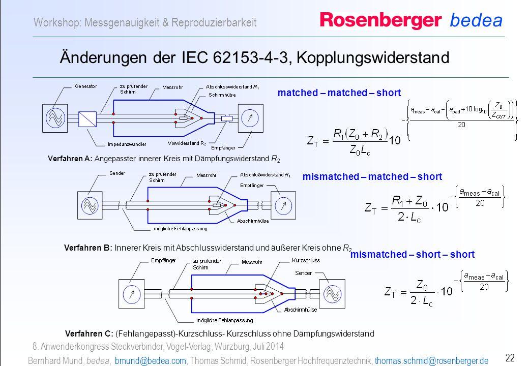 bedea Bernhard Mund, bedea, bmund@bedea.com, Thomas Schmid, Rosenberger Hochfrequenztechnik, thomas.schmid@rosenberger.de 22 Workshop: Messgenauigkeit & Reproduzierbarkeit 8.
