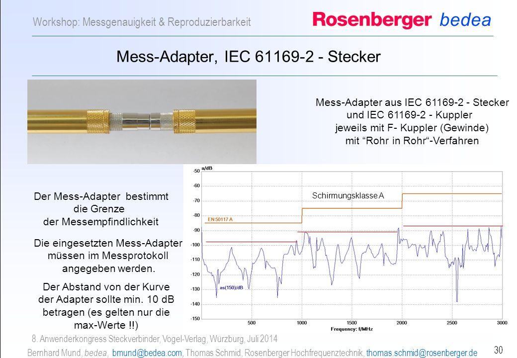 bedea Bernhard Mund, bedea, bmund@bedea.com, Thomas Schmid, Rosenberger Hochfrequenztechnik, thomas.schmid@rosenberger.de 30 Workshop: Messgenauigkeit & Reproduzierbarkeit 8.