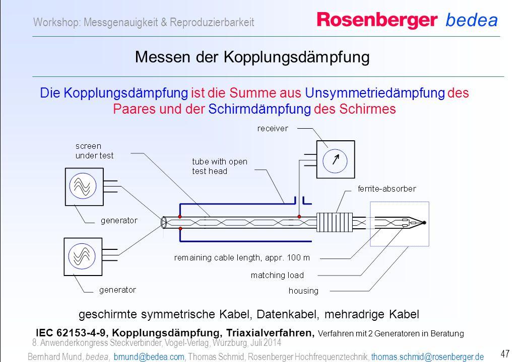 bedea Bernhard Mund, bedea, bmund@bedea.com, Thomas Schmid, Rosenberger Hochfrequenztechnik, thomas.schmid@rosenberger.de 47 Workshop: Messgenauigkeit