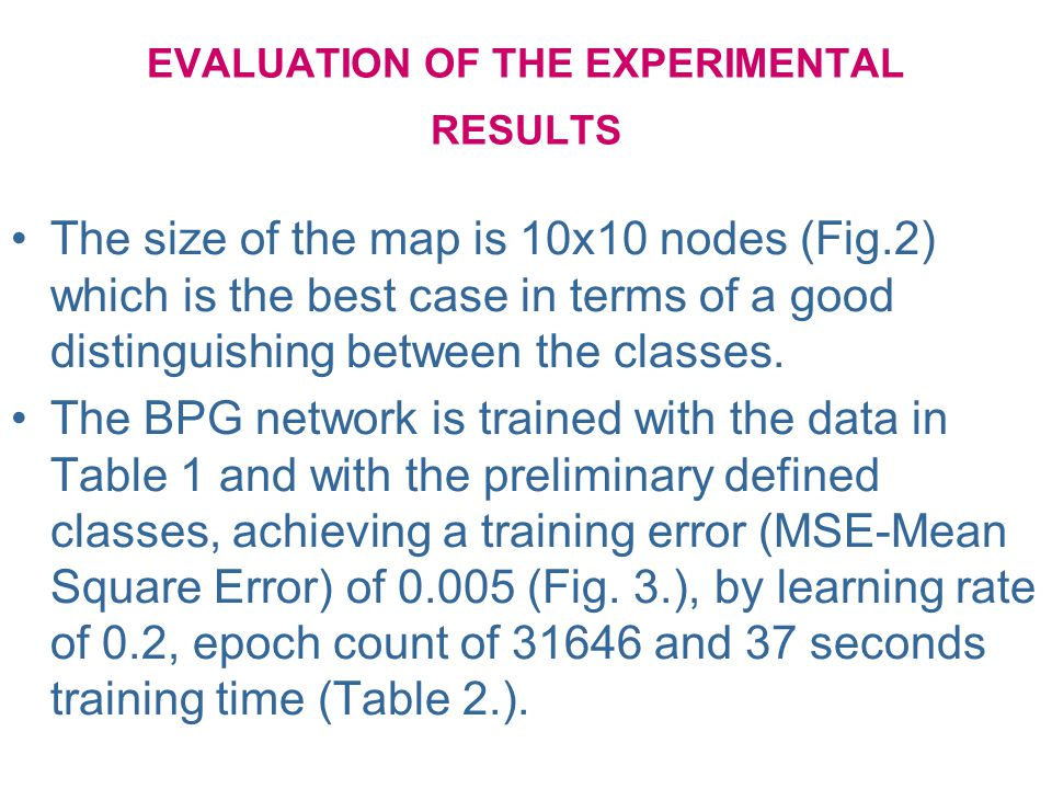 EVALUATION OF THE EXPERIMENTAL RESULTS The size of the map is 10x10 nodes (Fig.2) which is the best case in terms of a good distinguishing between the classes.