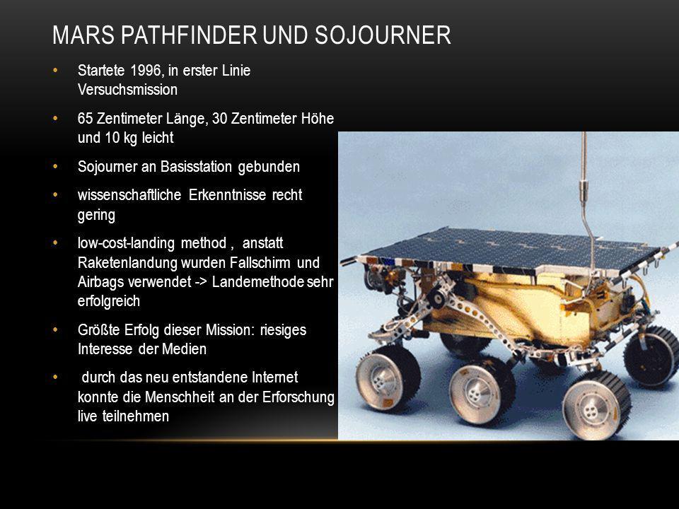 MARS PATHFINDER UND SOJOURNER Startete 1996, in erster Linie Versuchsmission 65 Zentimeter Länge, 30 Zentimeter Höhe und 10 kg leicht Sojourner an Bas