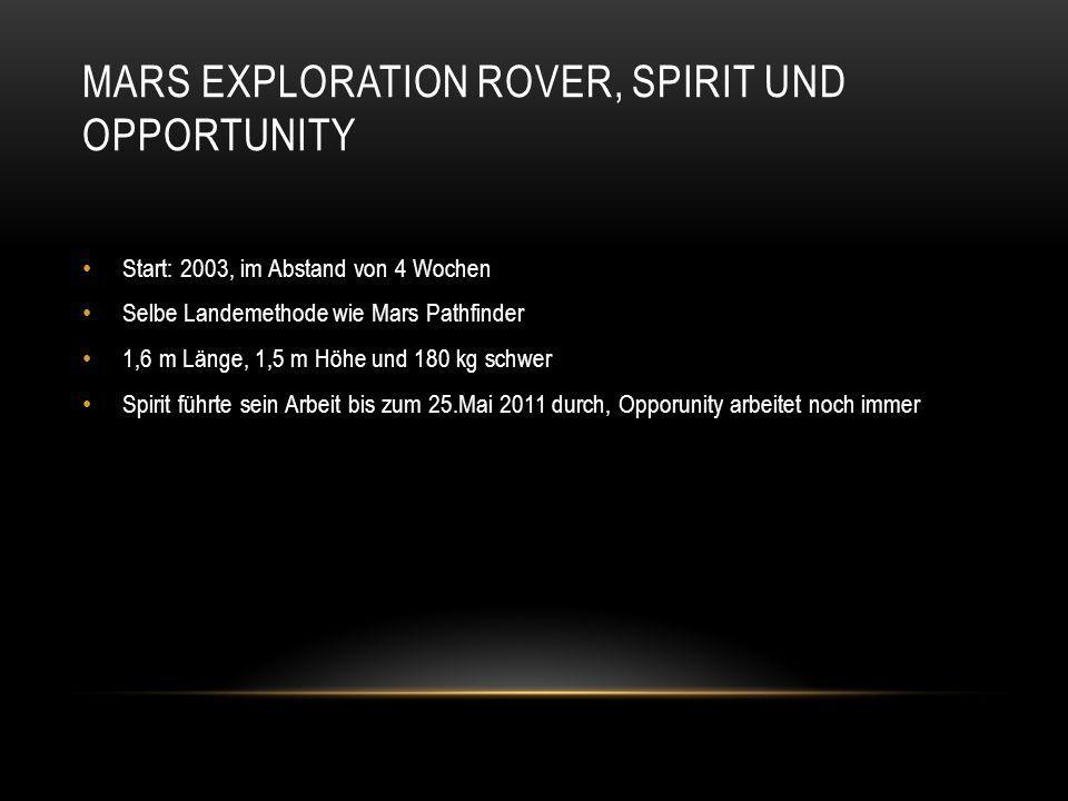 MARS EXPLORATION ROVER, SPIRIT UND OPPORTUNITY Start: 2003, im Abstand von 4 Wochen Selbe Landemethode wie Mars Pathfinder 1,6 m Länge, 1,5 m Höhe und