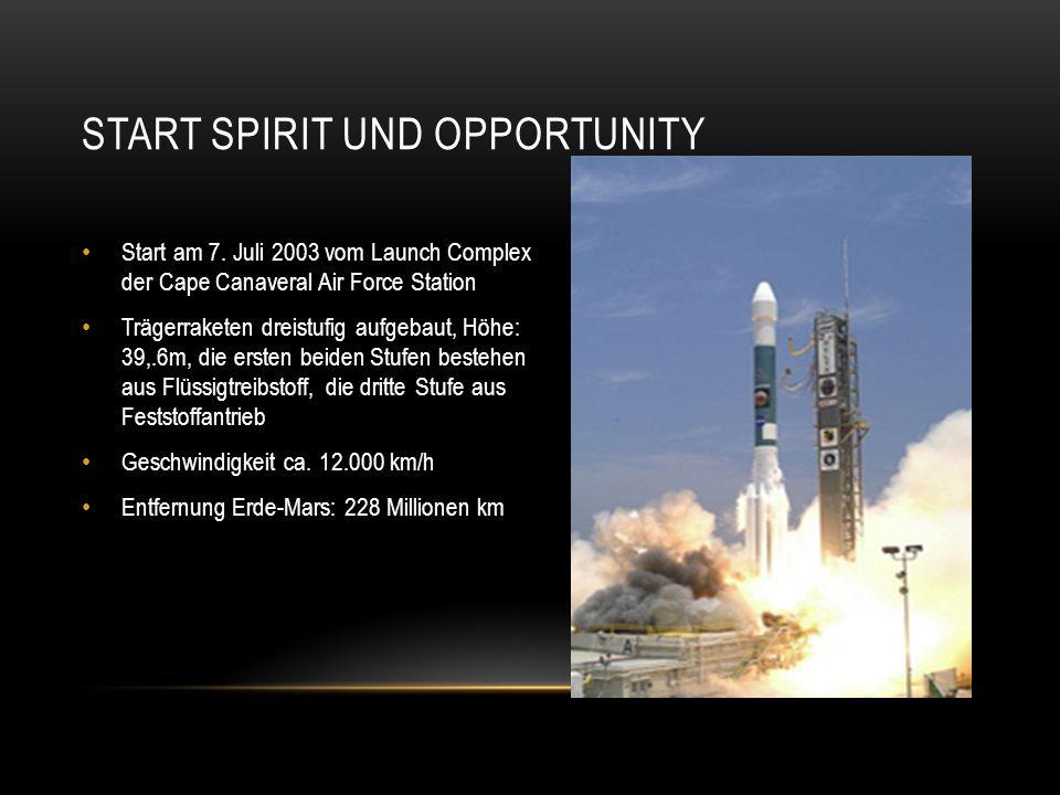 START SPIRIT UND OPPORTUNITY Start am 7.