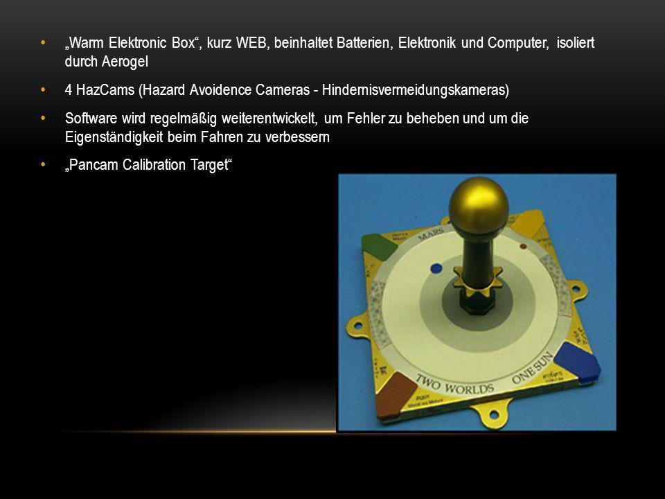 """""""Warm Elektronic Box"""", kurz WEB, beinhaltet Batterien, Elektronik und Computer, isoliert durch Aerogel 4 HazCams (Hazard Avoidence Cameras - Hindernis"""