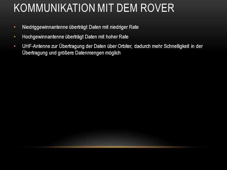 KOMMUNIKATION MIT DEM ROVER Niedriggewinnantenne überträgt Daten mit niedriger Rate Hochgewinnantenne überträgt Daten mit hoher Rate UHF-Antenne zur Ü