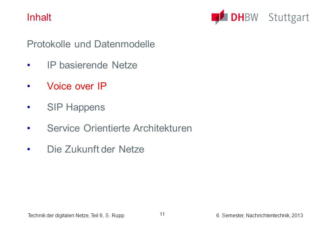 6. Semester, Nachrichtentechnik, 2013Technik der digitalen Netze, Teil 6, S. Rupp 11 Inhalt Protokolle und Datenmodelle IP basierende Netze Voice over