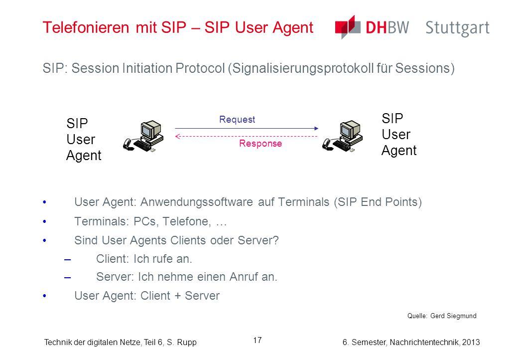 6. Semester, Nachrichtentechnik, 2013Technik der digitalen Netze, Teil 6, S. Rupp 17 Telefonieren mit SIP – SIP User Agent SIP: Session Initiation Pro