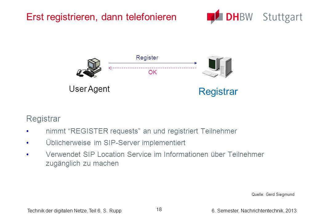 "6. Semester, Nachrichtentechnik, 2013Technik der digitalen Netze, Teil 6, S. Rupp 18 Erst registrieren, dann telefonieren Registrar nimmt ""REGISTER re"
