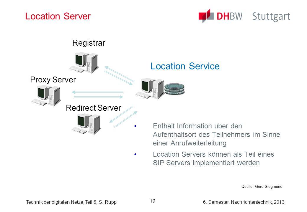 6. Semester, Nachrichtentechnik, 2013Technik der digitalen Netze, Teil 6, S. Rupp 19 Location Server Enthält Information über den Aufenthaltsort des T