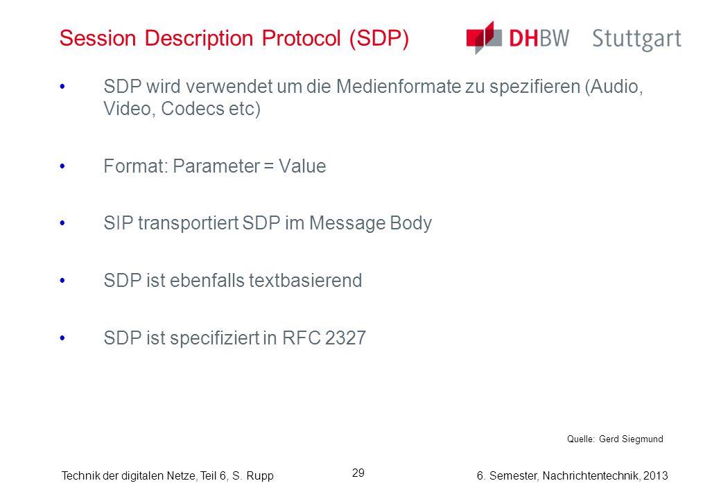 6. Semester, Nachrichtentechnik, 2013Technik der digitalen Netze, Teil 6, S. Rupp 29 Session Description Protocol (SDP) SDP wird verwendet um die Medi