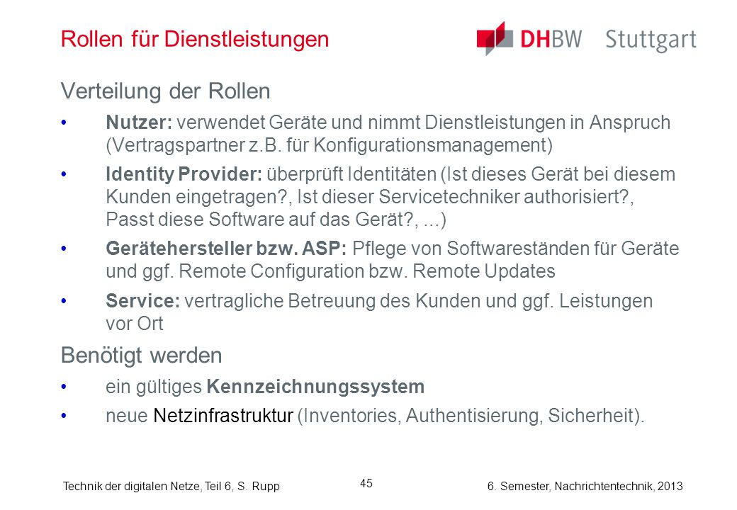 6. Semester, Nachrichtentechnik, 2013Technik der digitalen Netze, Teil 6, S. Rupp 45 Rollen für Dienstleistungen Verteilung der Rollen Nutzer: verwend